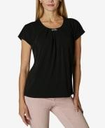 Short Sleeve Dolman Blouse - Black - Front