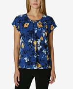 Short Sleeve Dolman Blouse - Water Color Flower Garden - Front