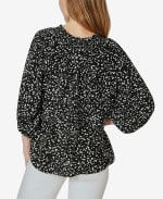 On or Off the Shoulder 3/4 Sleeve Peasant Top - Sprayed Dots Black - Back