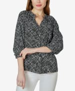 3/4 Sleeve Button Up with Ruffle Neck Top - Distressed Dot - Front