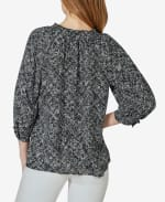 3/4 Sleeve Button Up with Ruffle Neck Top - Distressed Dot - Back