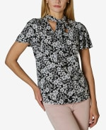 Flutter Sleeve with Bow Tie Neck - Summer Garden Black and White - Front