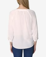 3/4 Sleeve Button Front Blouse - Gardenia - Back