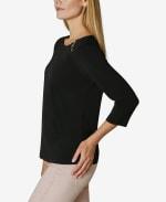 Adrienne Vittadini 3/4 Sleeve Asymmetrical Trim Blouse - 3