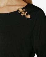 3/4 Sleeve Asymmetrical Trim Blouse - Black - Detail