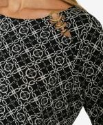 3/4 Sleeve Asymmetrical Trim Blouse - Scotts Gem - Detail