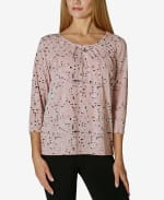 Tulip Sleeve Blouse - Multi Dot Pale Mauve - Front