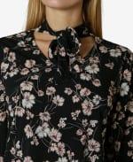 Bow Tie Neck Blouse - Hollyhock Floral Pale Mauve - Detail