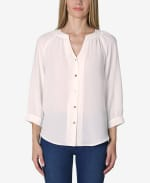 3/4 Sleeve Button Front Blouse - Gardenia - Front