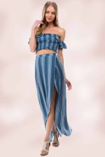 Stripe Crop Top Skirt Set - 3