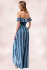 Stripe Crop Top Skirt Set - 2