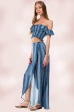 Stripe Crop Top Skirt Set - 5