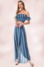 Stripe Crop Top Skirt Set - 4
