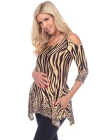 Maternity Printed Cold Shoulder Tunic - Plus - 1