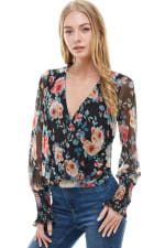 Floral Surplice Smock Sleeve Hem Blouse Top - 4