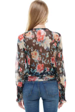 Floral Surplice Smock Sleeve Hem Blouse Top - 2