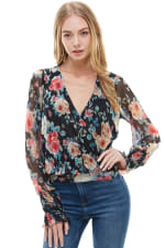 Floral Surplice Smock Sleeve Hem Blouse Top - 1