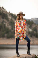 Floral Mix Media Elbow Sleeve Tunic - 3