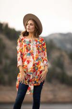 Floral Mix Media Elbow Sleeve Tunic - Red Multi - Front
