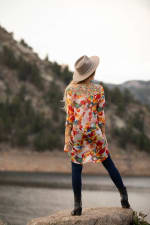 Floral Mix Media Elbow Sleeve Tunic - Red Multi - Back
