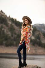 Floral Mix Media Elbow Sleeve Tunic - 4