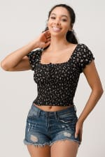 Ditsy Floral Smocked Body with Puff Sleeves Top - 5