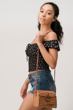 Ditsy Floral Smocked Body with Puff Sleeves Top - Black - Detail