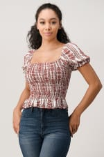 Rayon Guaze Boho Print Puff Sleeved Smock Top - Red - Front