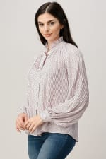 Pin Dot Pleated Tie Neck Long Sleeve Blouse Top - 5