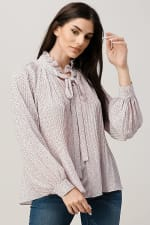 Pin Dot Pleated Tie Neck Long Sleeve Blouse Top - 3