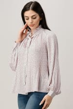 Pin Dot Pleated Tie Neck Long Sleeve Blouse Top - 4