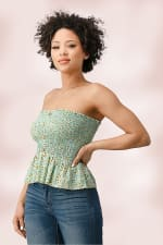 Rayon Gauze Ditsy Floral Smock Tube Top With Button Detail - 4