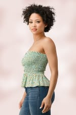 Rayon Gauze Ditsy Floral Smock Tube Top With Button Detail - 3