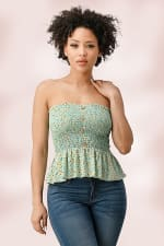 Rayon Gauze Ditsy Floral Smock Tube Top With Button Detail - 1