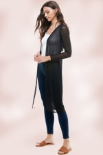 Mesh Embroidered Long Duster Cardigan Gown - 4