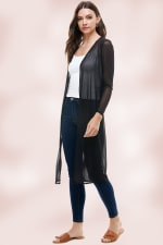 Mesh Embroidered Long Duster Cardigan Gown - 3