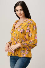 Rayon Challis Floral Ruffle V Neck Blouse Top - 5