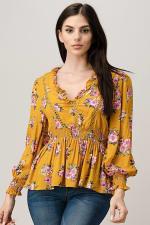 Rayon Challis Floral Ruffle V Neck Blouse Top - 6