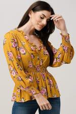Rayon Challis Floral Ruffle V Neck Blouse Top - 1
