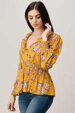 Rayon Challis Floral Ruffle V Neck Blouse Top - 4