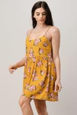 Rayon Challis Floral Button Front Dress - 3