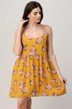 Rayon Challis Floral Button Front Dress - 4