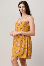 Rayon Challis Floral Button Front Dress - 5