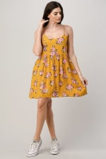 Rayon Challis Floral Button Front Dress - 1