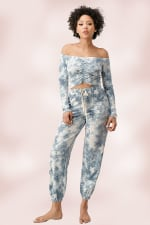 French Terry Tie Dyed Star Printed Off The Shoulder And Jogger Pants Set - 1