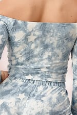 French Terry Tie Dyed Star Printed Off The Shoulder And Jogger Pants Set - Blue - Detail