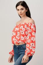 Rayon Challis Floral Print Off Shoulder Blouse Top - 5