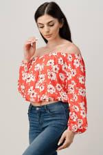 Rayon Challis Floral Print Off Shoulder Blouse Top - 4