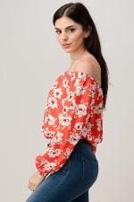 Rayon Challis Floral Print Off Shoulder Blouse Top - 3
