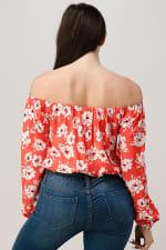 Rayon Challis Floral Print Off Shoulder Blouse Top - 2